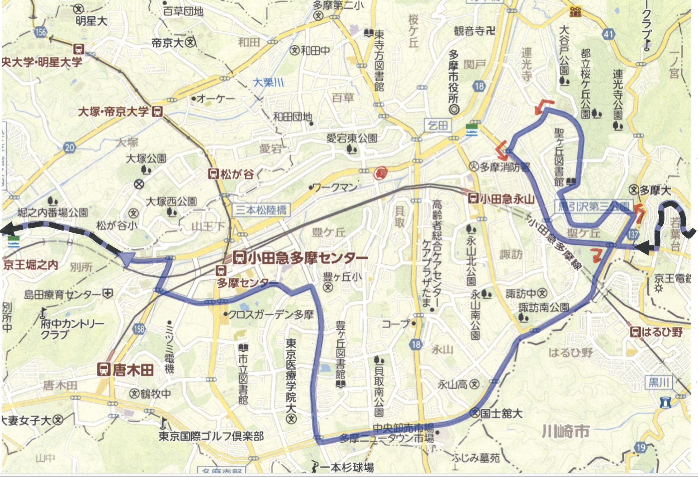 東京2020 自転車競技ロードレース多摩市コース図/多摩市HPより