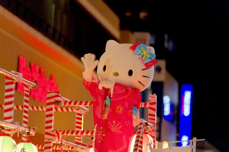 落合夏祭大盆踊り大会のハローキティ(浴衣姿)