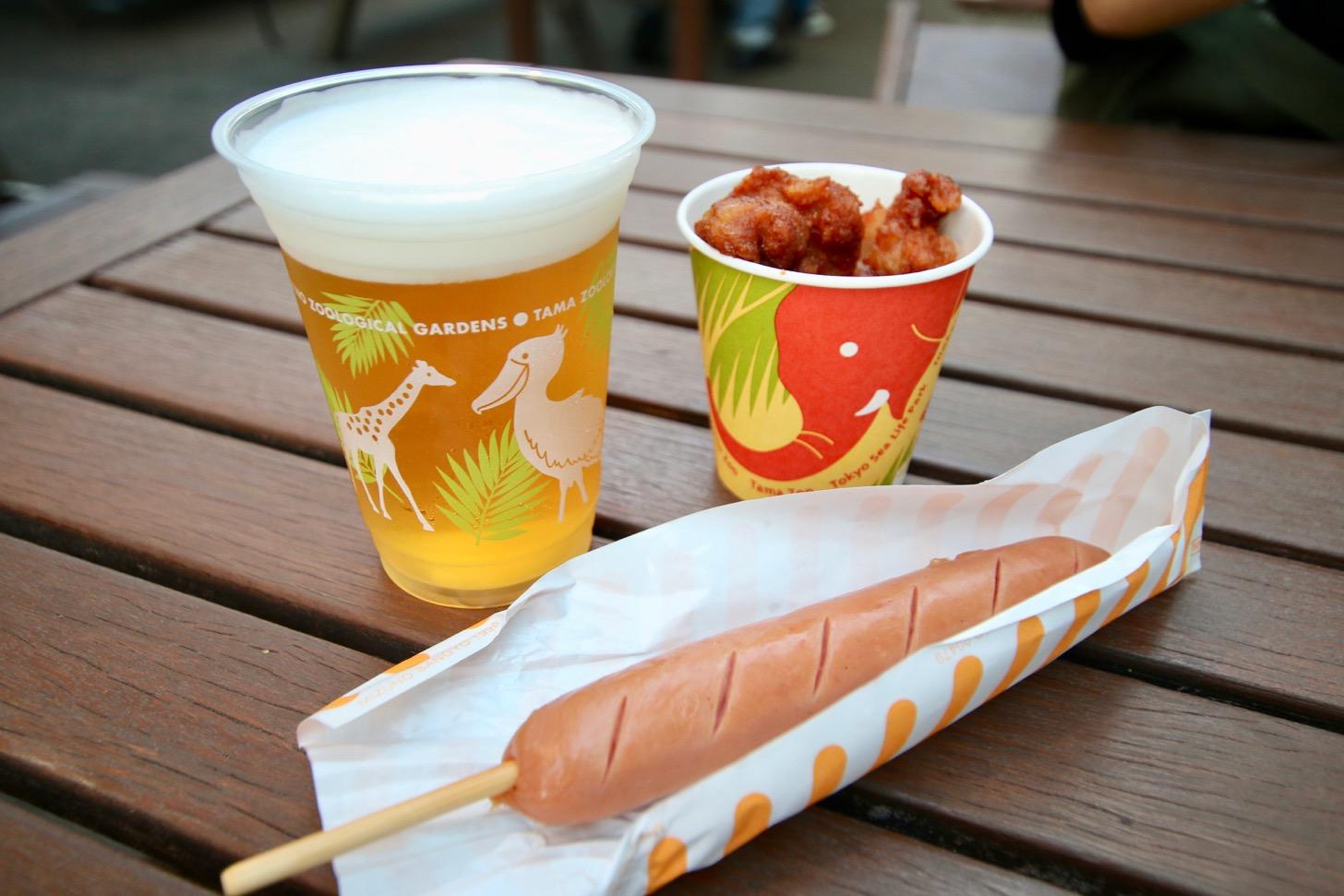 多摩動物公園 森のビアガーデン(カンガルー広場)ビール、からあげ、フランクフルト
