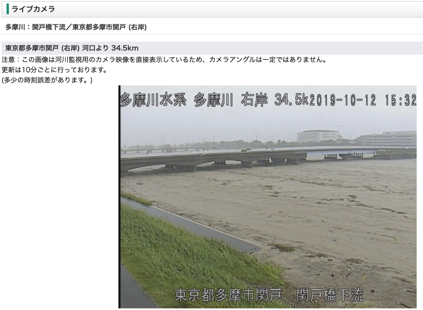 ライブカメラの映像(多摩川・関戸橋下流)