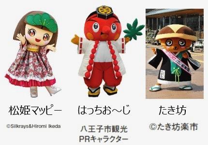 八王子市観光PRキャラクター「はっちお~じ」や、松姫マッピー、たき坊などのゆるキャラが登場