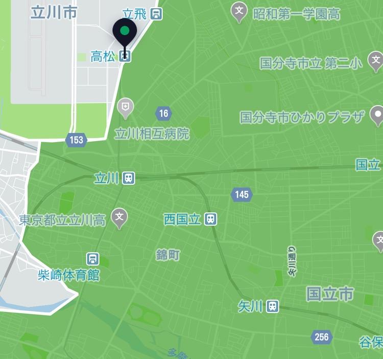 立川市でオーダーできるUber Eats(ウーバーイーツ)の配送範囲