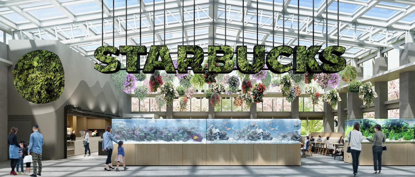 日本で初めてSTARBUCKSのサイネージを本物の植栽で表現