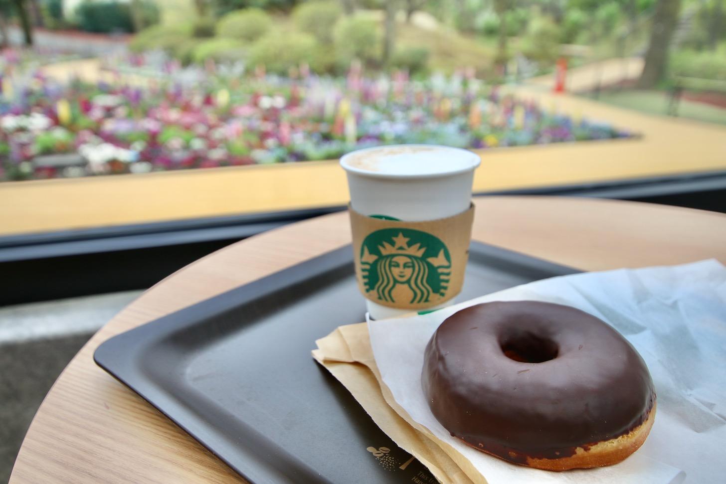 スターバックスコーヒー よみうりランドHANA・BIYORI店でコーヒーとドーナッツ