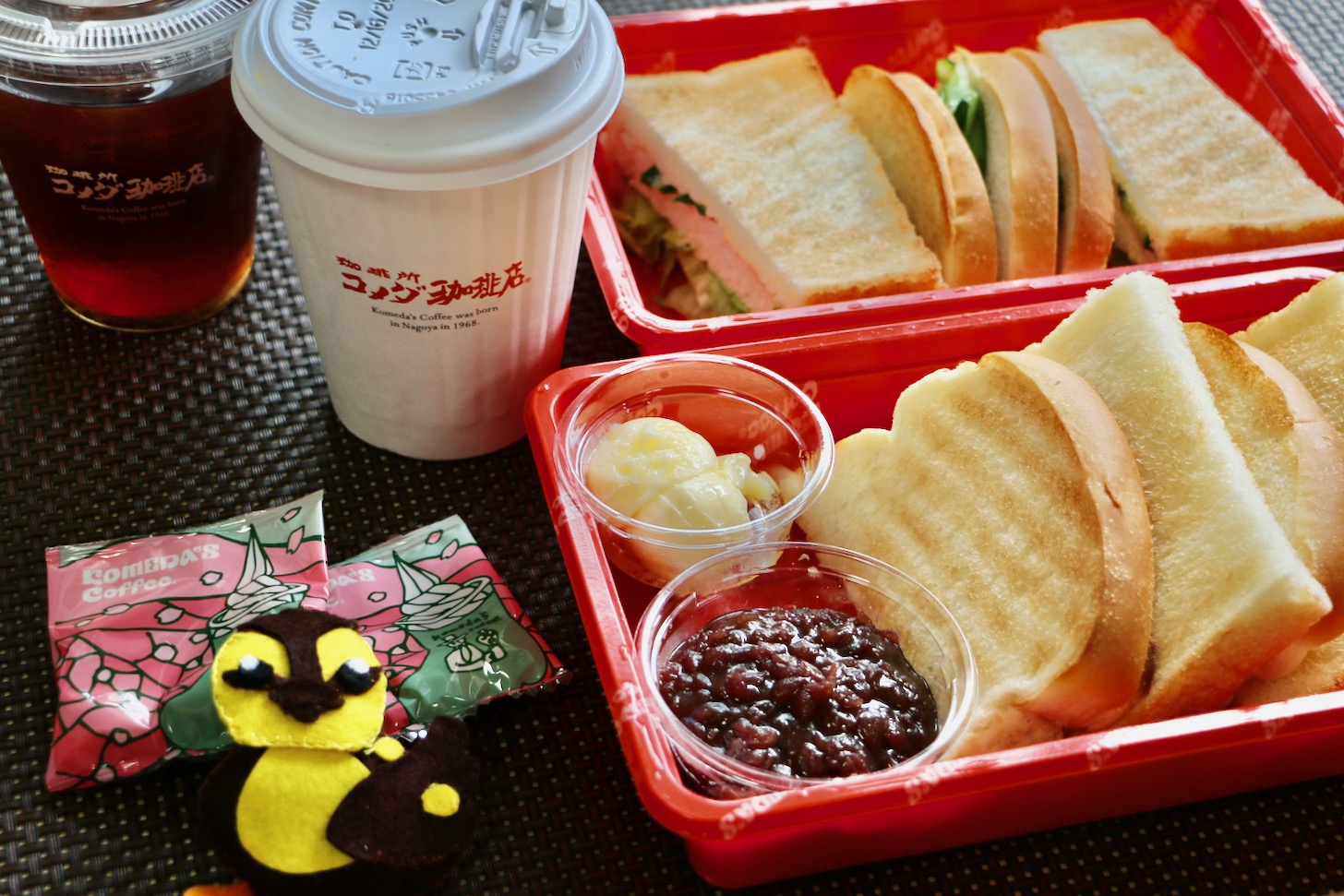 コメダ珈琲店 唐木田店で小倉トーストとハムトーストをテイクアウトしてきた