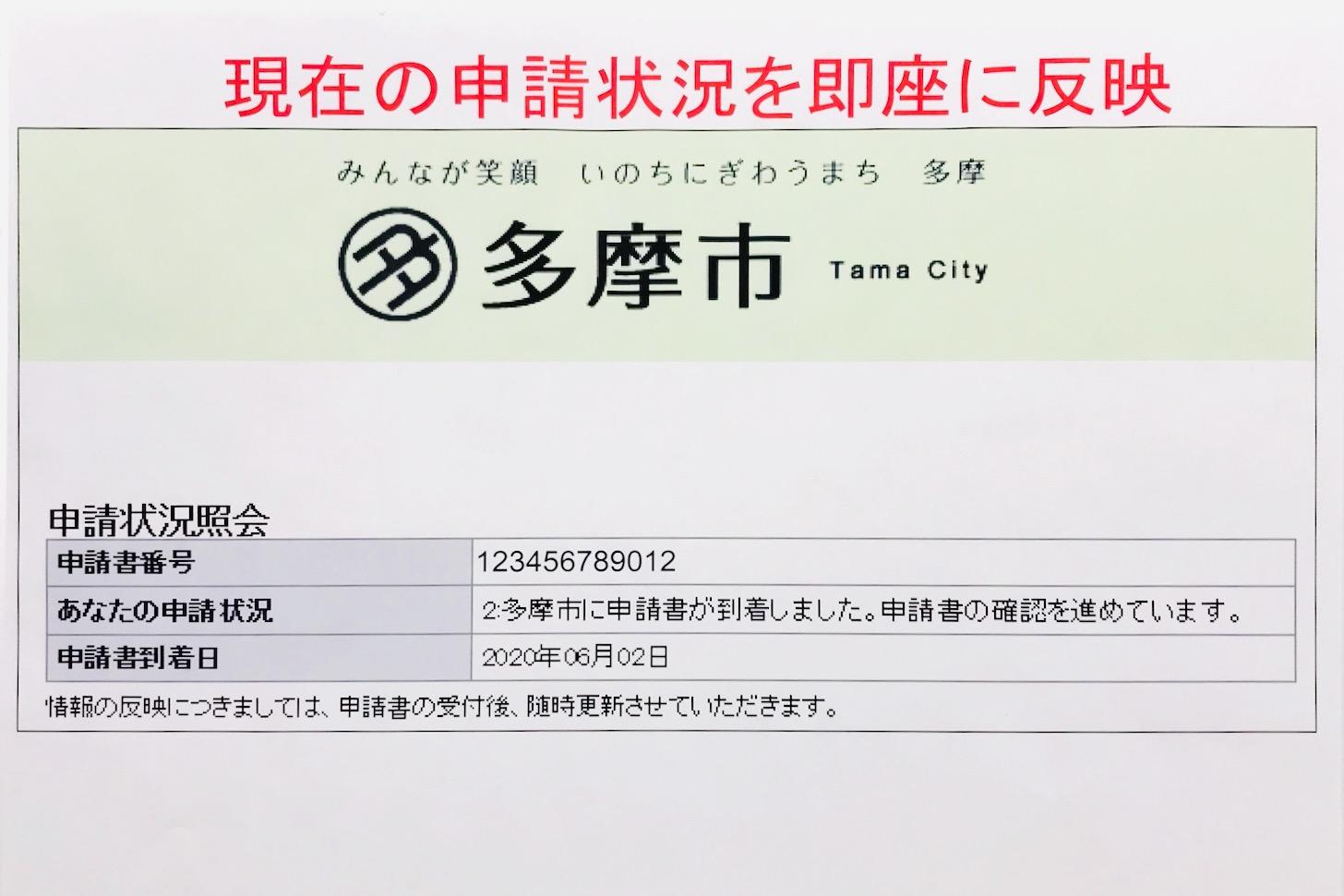 多摩市の特別定額給付金申請状況確認サイトのデモ画面