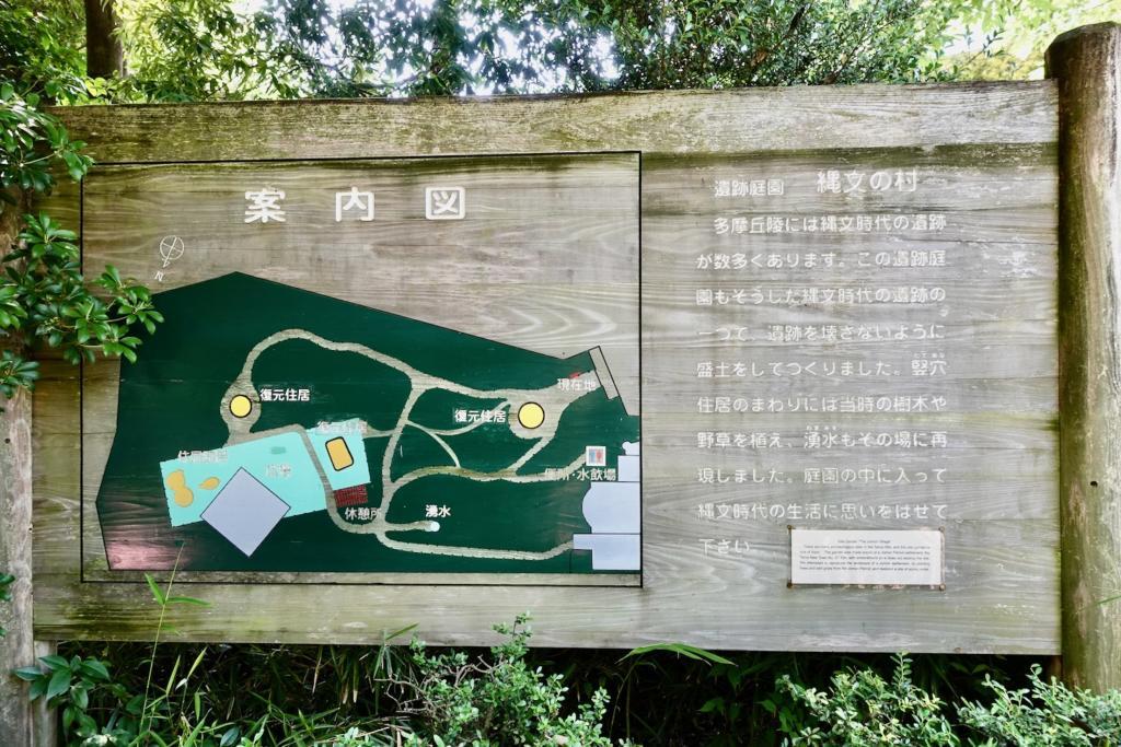 多摩センターの遺跡庭園「縄文の村」案内図