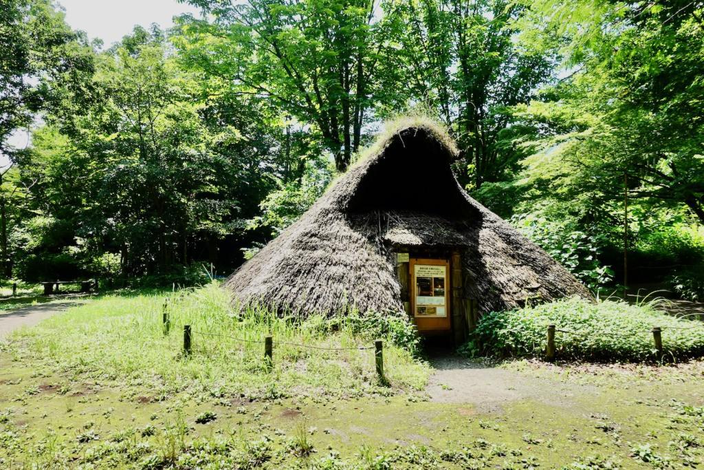 多摩センターの遺跡庭園「縄文の村」前期の竪穴住居(6,500年前)
