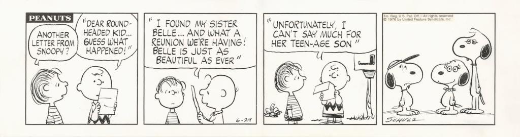 隣にいるのは...?「ピーナッツ」原画1976年6月29日 © Peanuts