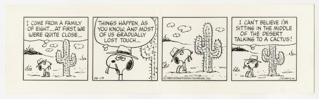 砂漠にひとり住むスパイク。「ピーナッツ」原画1983年10月19日 © Peanuts
