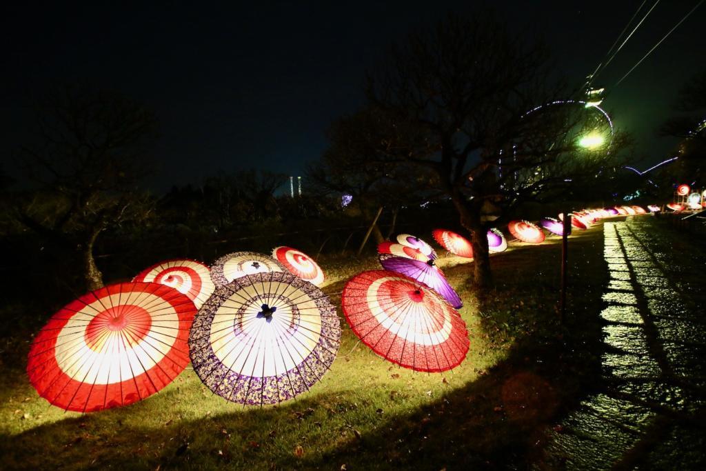 色とりどりの和傘がライトアップされて雅な空間