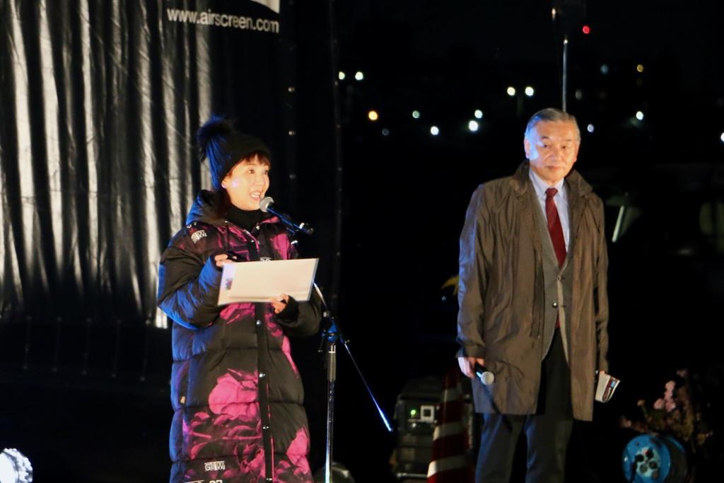 戸田恵子さんと阿部裕行多摩市長