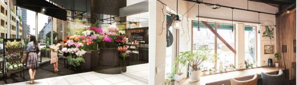 フラワーショップとカフェ(イメージ)