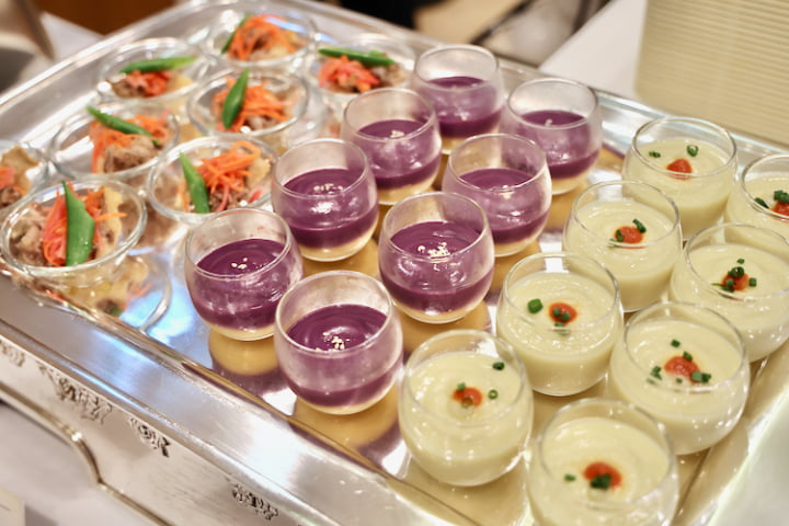 魚介のマリネ、紫芋のビシソワーズ、焼きなすのビシソワーズ